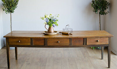 French Antique Farmhouse Country Rustic Dining Kitchen Table Drawers 2.5m long