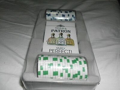 PATRON TEQUILA Simply Perfect Clay POKER CHIPS  and PLAYING CARDS Set