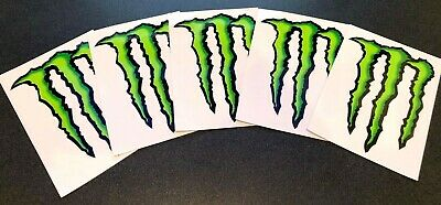 "5 MONSTER ENERGY STICKER 4"" x 3"" - GREEN M-CLAW GLOSSY DECAL STICKERS BRAND NEW"