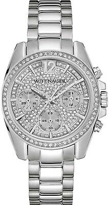Wittnauer Women's Quartz Crystal Accents Silver-Tone Bracelet 34mm Watch WN4077
