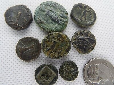 76-3 LOT of 8pcs.ANCIENT Greek Bronze coins from 300 BC -100 AD