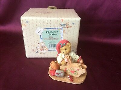 """1995 Cherished Teddies Ginger """"Printing Your Holidays With Love""""- S"""