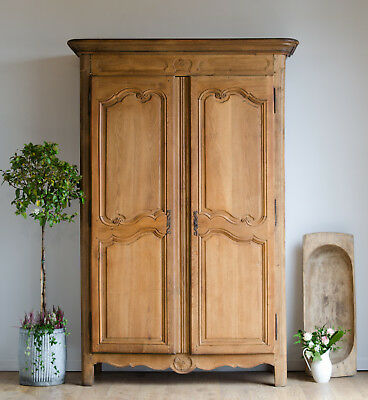 Very Large French Antique Late 18th Century Oak Knockdown Armoire Wardrobe