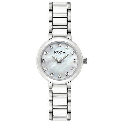 Bulova Women's Quartz Diamond Accents White Ceramic Bracelet 28mm Watch 98P158