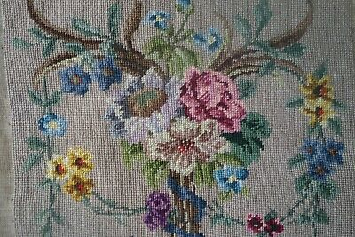Vintage Needlepoint Tapestry Embroidered Cushion Seat Cover Floral Pattern Wool