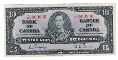 1937 Bank of Canada $10 Ten Dollar Dix Gordon Towers Currency Note T/D HC9869836