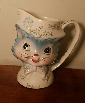 "Vintage Lefton Miss Priss Milk Pitcher Porcelain 5-1/2"" Kitty Cat 1504 Blue"