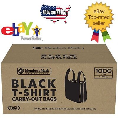 Member S Mark Black Large Plastic T Shirt Carryout Bags