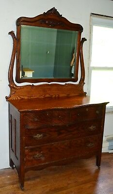Antique Solid Tiger Oak 4 Drawer Dresser w/ Swing Mirror Excellent Condition USA
