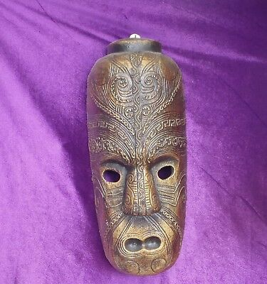 BALINESE HAND MADE & CARVED WOODEN TIKI MASK 40cmHx20cmW