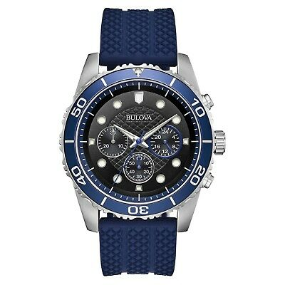 Bulova Sport Men's Quartz Chronograph Black Dial Blue Band 43mm Watch 98A190