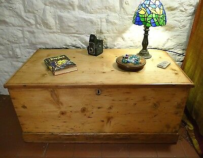 Large Vintage Pine Steamer Trunk Chest Blanket Box Coffee Table