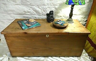 Large Victorian Vintage Banded Steamer Trunk Chest Blanket Box