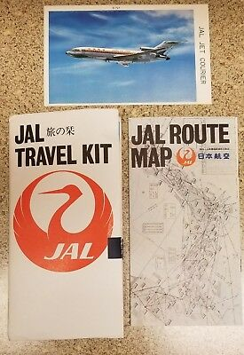 VINTAGE JAL TRAVEL KIT with 2 Postcards (of B-727 and DC-10) and Route Map