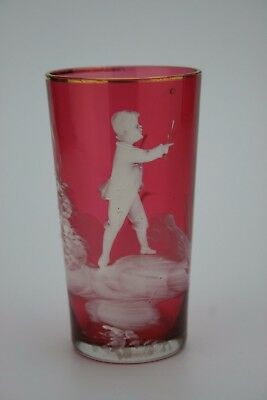 Beautiful Antique Victorian Cranberry Glass Mary Gregory Beaker - Cup