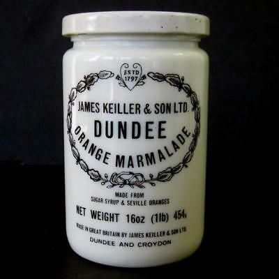 Dundee Orange Marmalade Jar James Keiller & Son 16 Ounce Stoneware Metal Lid Vtg