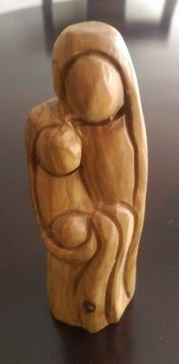 Olive wood Mother Mary and  babyJesus Handmade from the Holy Land Bethlehem 6""