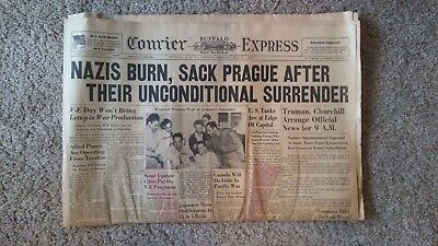 Vintage WWII VE Day Buffalo NY Courier Express Newspaper May 8, 1945 Nazis