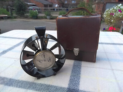 Vintage Cased Casella of London Brass 3 Dial Anemometer Air Flow Meter