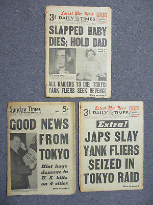 Wwii Three 1942-43 Doolittle Tokyo Raid Japan Kills U.s. Fliers Newspaper Lot
