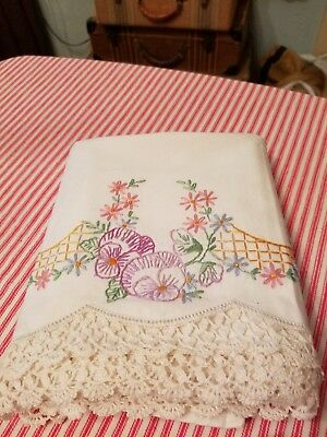 Vintage Hand Embroidered Pillowcases With Crocheted Edges