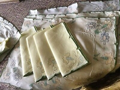 Beautiful Vintage Embroidered Linen Napkins & Placemats Set, Colorful Flowers