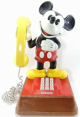 "Vintage Disney Mickey Mouse Touch Tone Phone With Faux Wooden Base 1976 15"" Tall"
