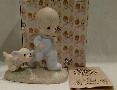 """Precious Moments""""God's Speed"""" 1979•Jonathan& David Figurine PRE-OWNED in Box"""