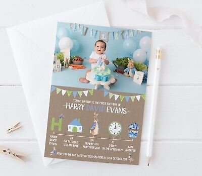 ENV 10 PERSONALISED PETER RABBIT FIRST 1ST BIRTHDAY PARTY INVITATIONS INVITES