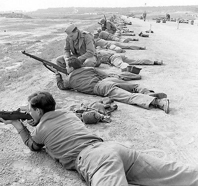 WWII B&W Photo US Marine Raider Rifle Training  M1 Garand  USMC WW2 /1293