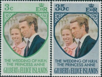 Gilbert Ellice Islands 1973 SG221-222 Princess Anne Wedding set MNH