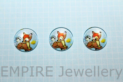 2 x Bambi & Thumper 12x12mm Glass Dome Cabochon Cameo Deer Fawn Disney Flower