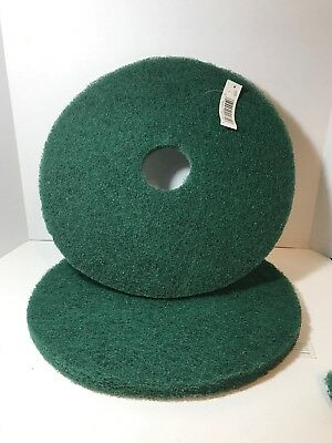 Set Of 2 Hard Floor Buffing Pads Green 17 Inch Round 1 Inch Thick  New With Tags