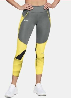 NWT L UNDER ARMOUR Women's Running Compression Tights w/Zip pocket 1323048 $90