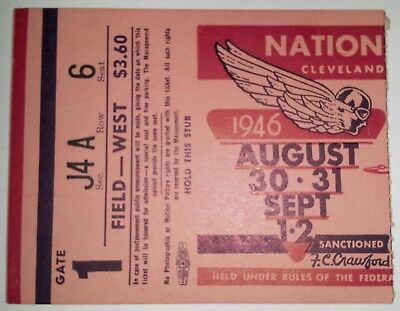 "1946  ""national Air Races"" Cleveland Aug. 30-31/sep. 1-2 Ticket Stub-Original-"