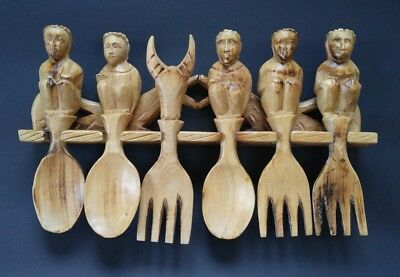 Rare Hand Carved Wall Hanging Spoons Forks Goat Wood Philippines Utensils Rustic