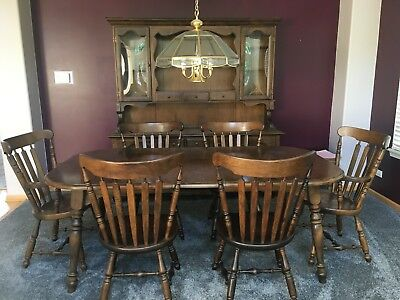 Sprague Carleton Dining Room Set With Buffet / China Cabinet Chairs Solid Maple