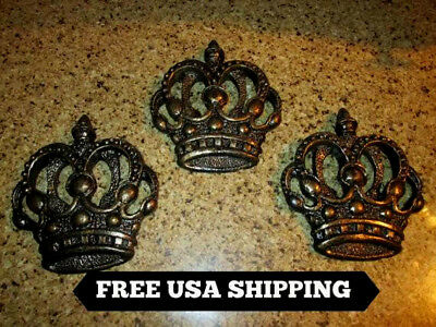 THREE, Crowns, Wall plaques, Tuscan, Medieval, Old World, Royal, King, Plaque