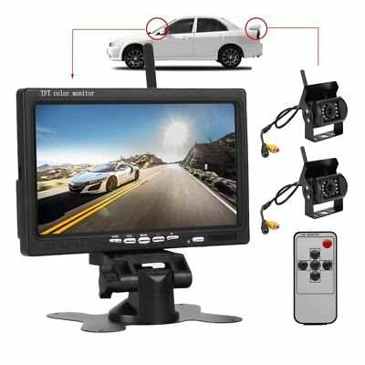 "7"" Monitor+2x Wireless Rear View Backup Camera Night Vision For RV Truck Bus MA"