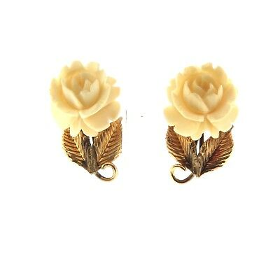 Vintage Carved Rose Stud Earrings Gold Filled Screw back .6""