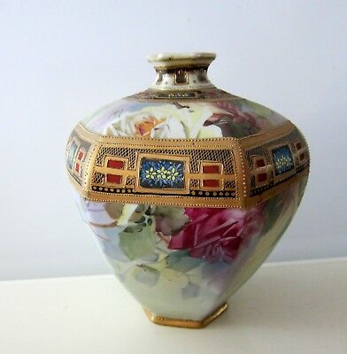 Antique Nippon Hand Painted Moriage Vase Japan 9""