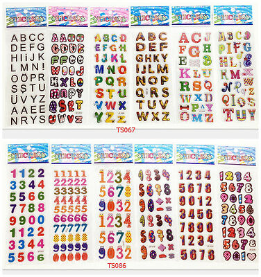 12Sheets Children's perspective Stickers studyDigital + letter lot of kids gifts