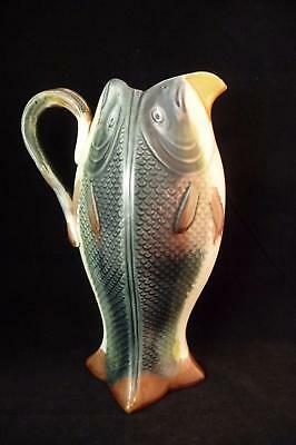 "RARE VICTORIAN MAJOLICA FOUR SIDED FISH PITCHER 8 1/2"" TALL c1880"