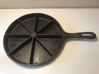Wagner Ware Divided Cornbread Wedge Skillet Pan Cast Iron Vtg Antique Seasoned