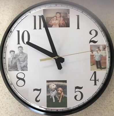 """12.5"""" Personalized Four-Photo Wall / Table Clock"""