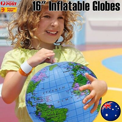 30cm PVC Inflatable World Globe Earth Teaching Geography Map Educational Student