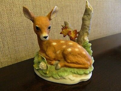 Stunning Deer Fawn in Grass Porcelain Figurine by Homco Beautiful Detail 8879