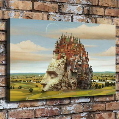 "12""x20""Fantasy Man on The Castle HD Canvas prints Painting Home Decor Wall art"