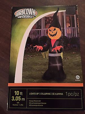 New Halloween Huge 10 Foot Pumpkin Grim Reaper LED Lit Airblown/Inflatable Decor