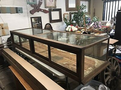 Antique Oak Country Store Table Top Display Case